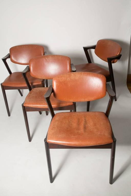 Four Kai Kristiansen Cognac Leather and Mahogany 'Z' Dining Chairs 5