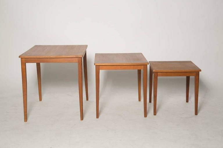 Classic Teak Danish Nesting Tables With Tapered Square