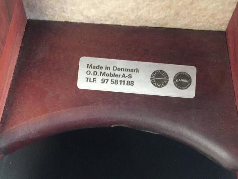 Danish Two Erik Buck Bar Stools in Black Leather and Rosewood For Sale