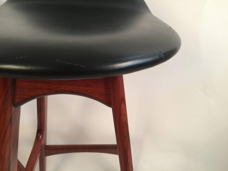Two Erik Buck Bar Stools in Black Leather and Rosewood In Good Condition For Sale In Brooklyn, NY