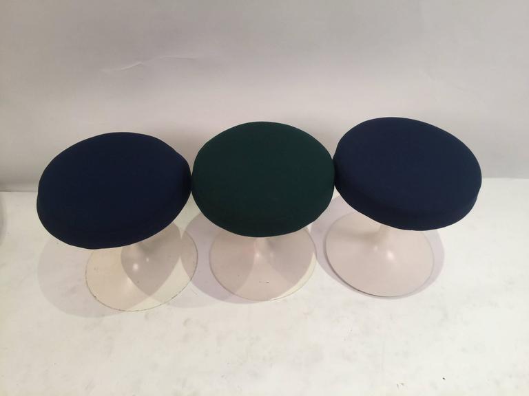 Eero Saarinen Tulip Stools for Knoll in Fabric 2