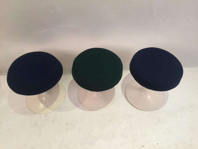 Mid-Century Modern Eero Saarinen Tulip Stools for Knoll in Fabric For Sale