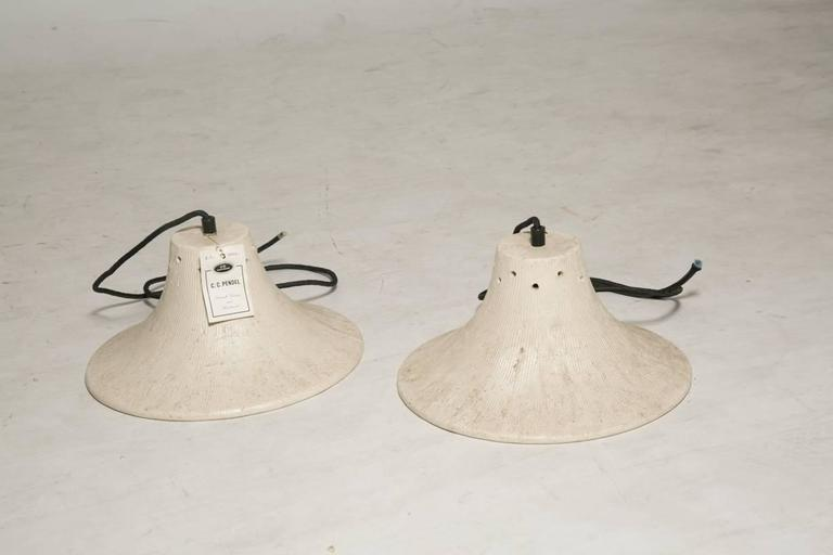 Scandinavian Modern Four New Old Stock Danish Ceramic Lamp Fixtures For Sale