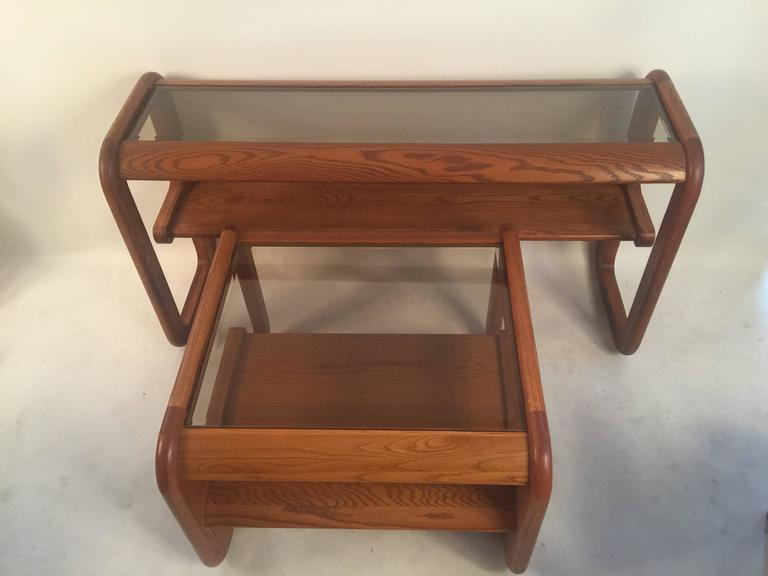 Set Of Lou Hodges Oak And Glass Tables For Sale At 1stdibs