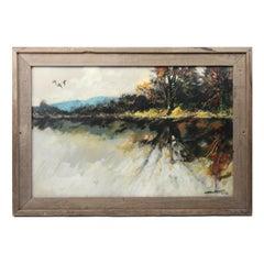 Large Midcentury Impressionistic Oil Landscape Painting