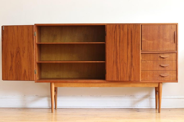 Scandinavian Modern Midcentury Danish Modern High Sideboard with Dry Bar For Sale