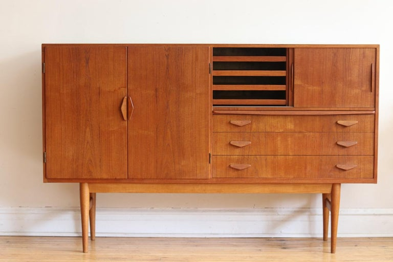 Teak Midcentury Danish Modern High Sideboard with Dry Bar For Sale