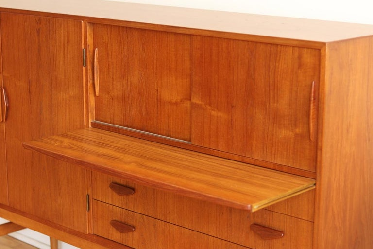 Midcentury Danish Modern High Sideboard with Dry Bar For Sale 6