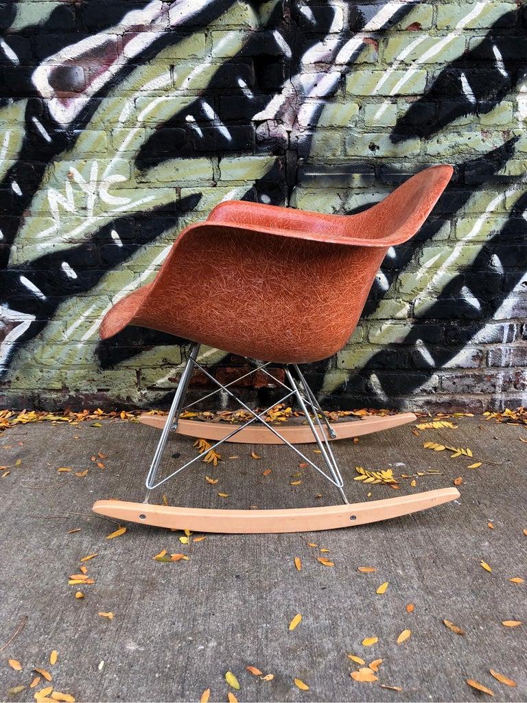 Fiberglass Terracotta Herman Miller Eames RAR Rocking Chair For Sale
