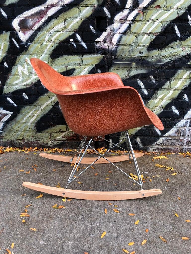 Terracotta Herman Miller Eames RAR Rocking Chair For Sale 1