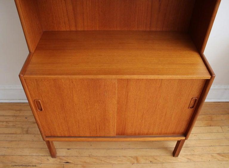 Midcentury Danish Modern Slim Teak Hutch For Sale 9