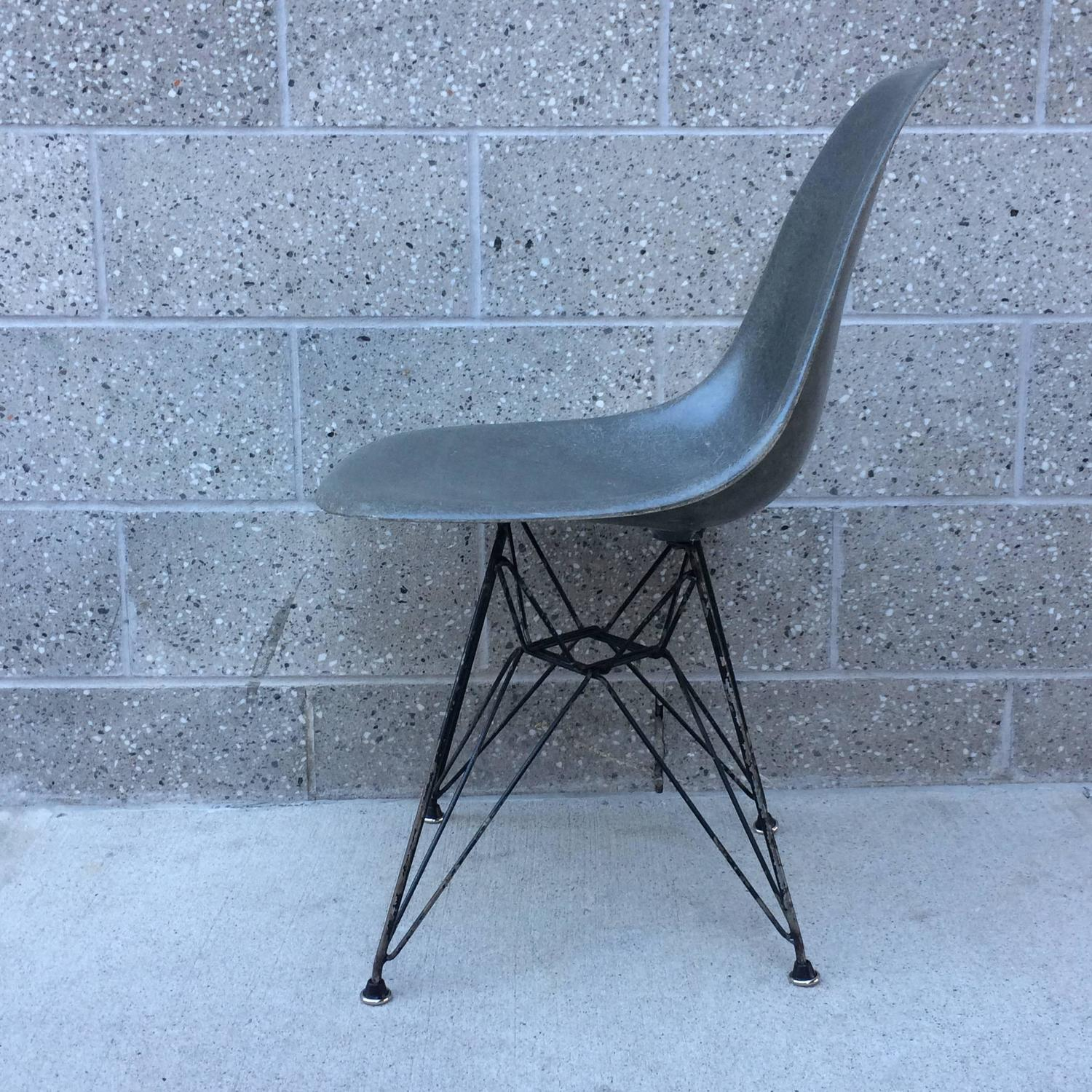 Herman Miller Eames Elephant Hide Grey DSR Chair For Sale at 1stdibs