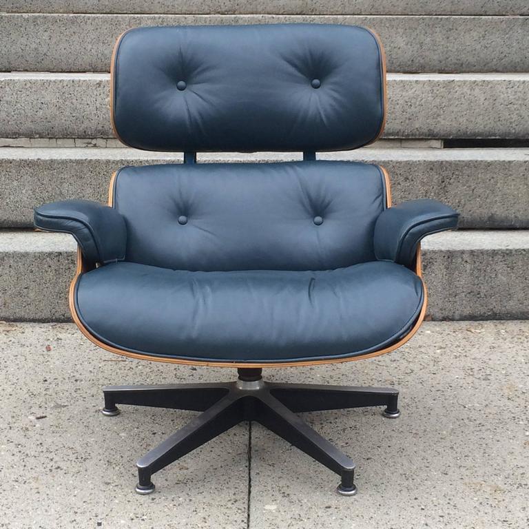 Aluminum Rare Navy Blue Herman Miller Eames Lounge Chair Set