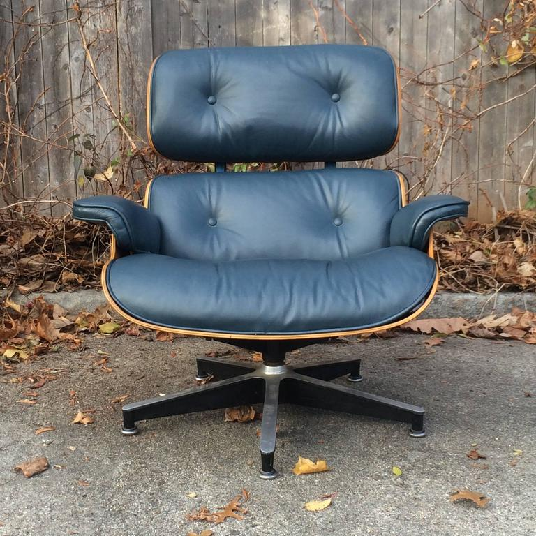 Late 20th Century Rare Navy Blue Herman Miller Eames Lounge Chair Set