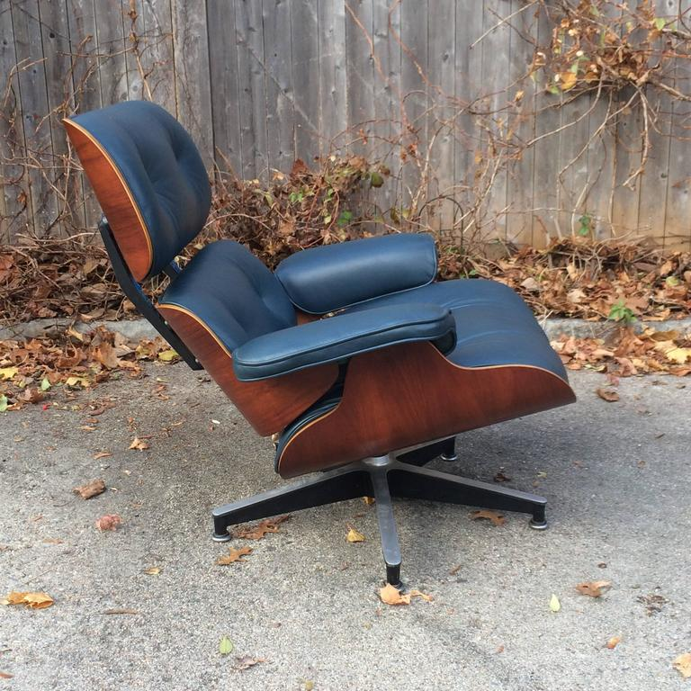 Rare Navy Blue Herman Miller Eames Lounge Chair Set 1