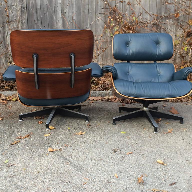 American Rare Navy Blue Herman Miller Eames Lounge Chair Set