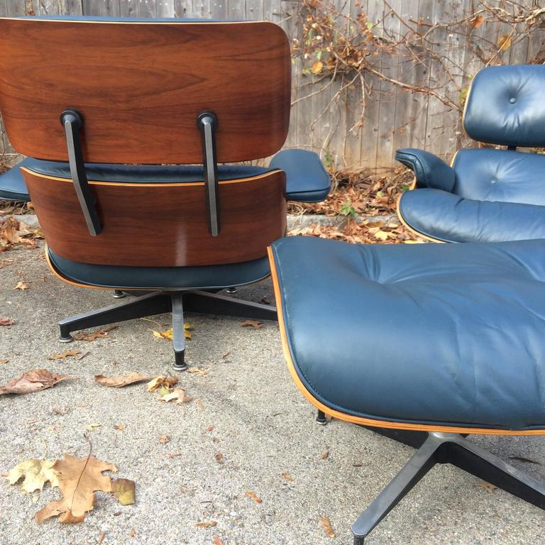 Mid-Century Modern Rare Navy Blue Herman Miller Eames Lounge Chair Set