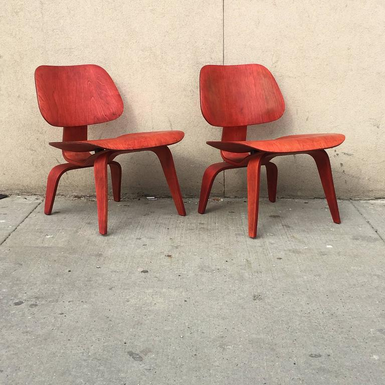 two red evans early eames lcw lounge chairs for sale at 1stdibs