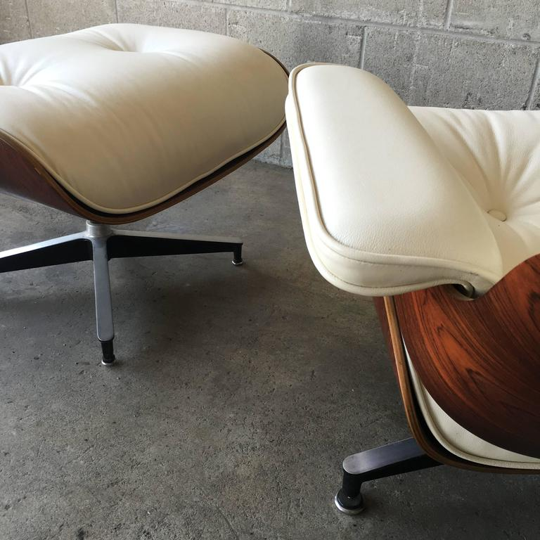 Herman Miller Eames Lounge Chair And Ottoman In Brazilian Rosewood And New  Ivory Leather Cushions.
