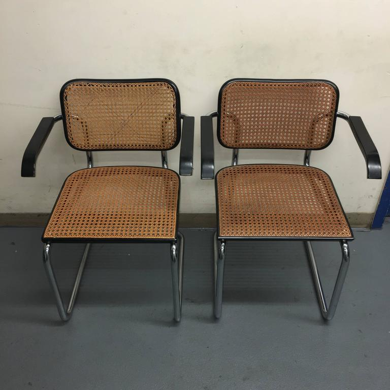 Four marcel breuer cesca dining chair for knoll at stdibs