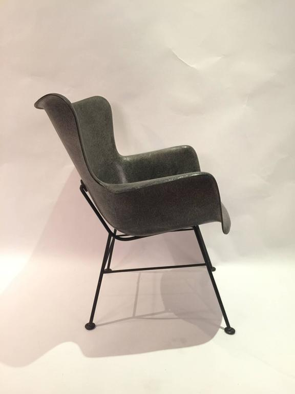 Lawrence Peabody For Selig Wingback Fiberglass Chair For