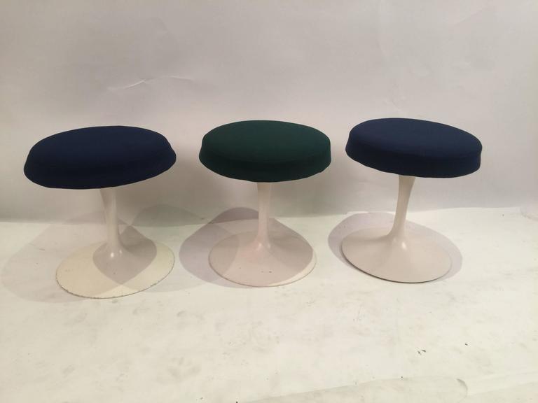 American Eero Saarinen Tulip Stools for Knoll in Fabric For Sale