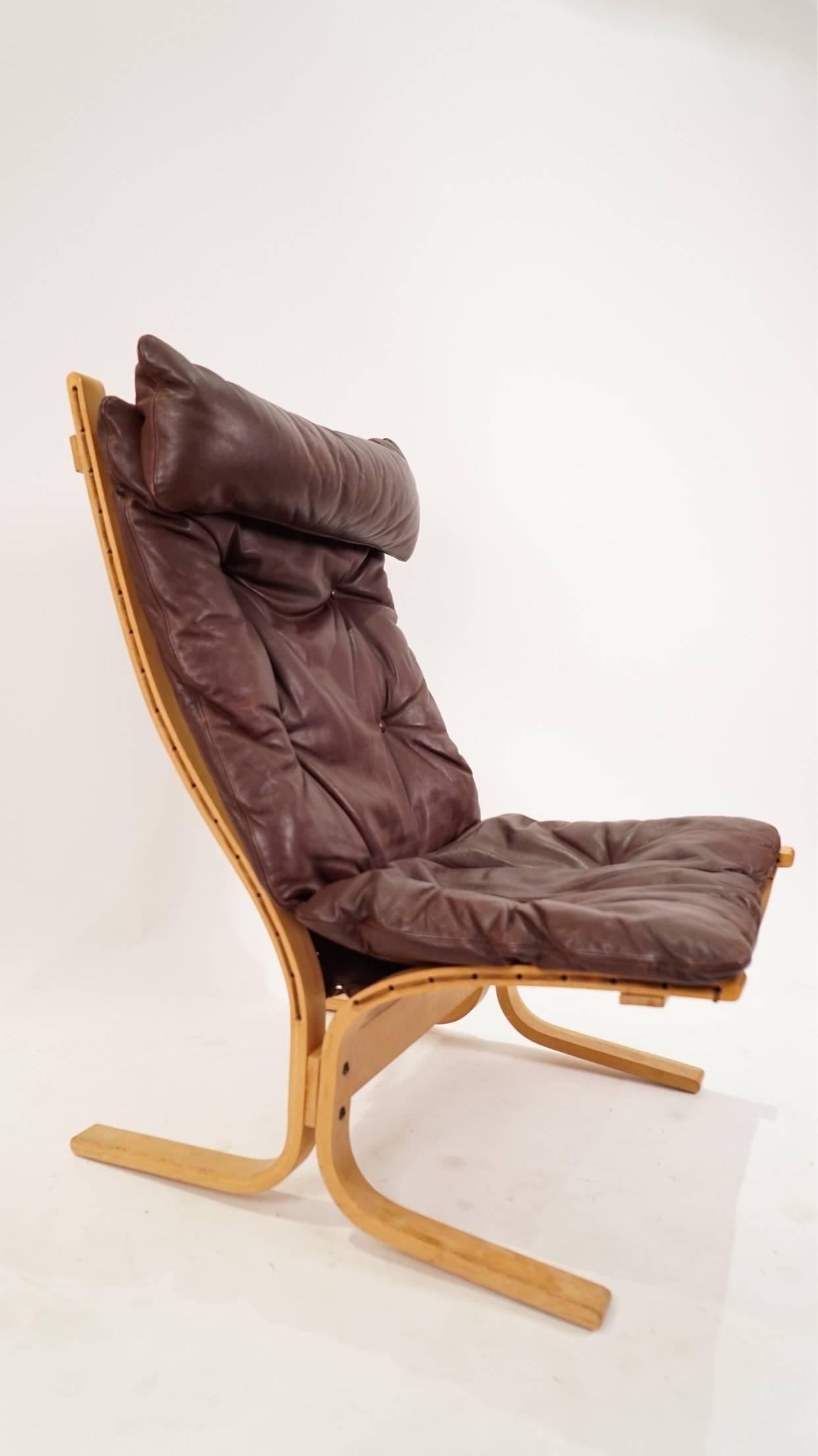 Siesta Chair In Brown Leather By Ingmar Relling For Westnofa