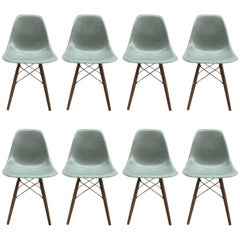 Eight Herman Miller Eames Seafoam Green Dining Chairs