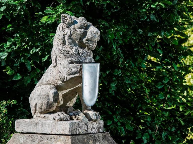 Carved Castle Fountain, 19th Century, with Lion on the Top, Limestone For Sale