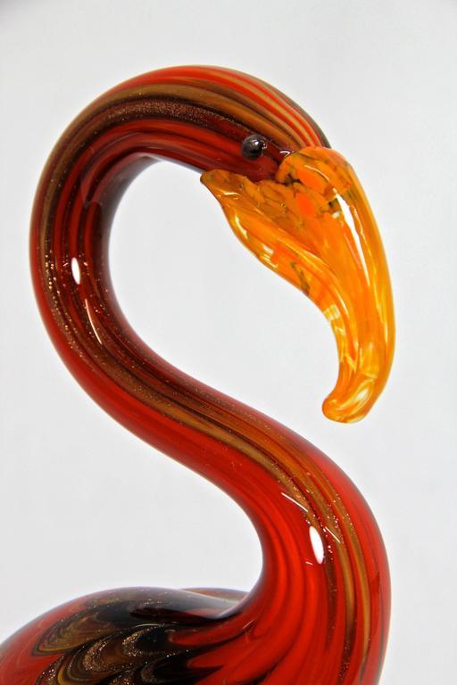 Italian Fantastic Murano Glass Art Flamingo, Italy For Sale