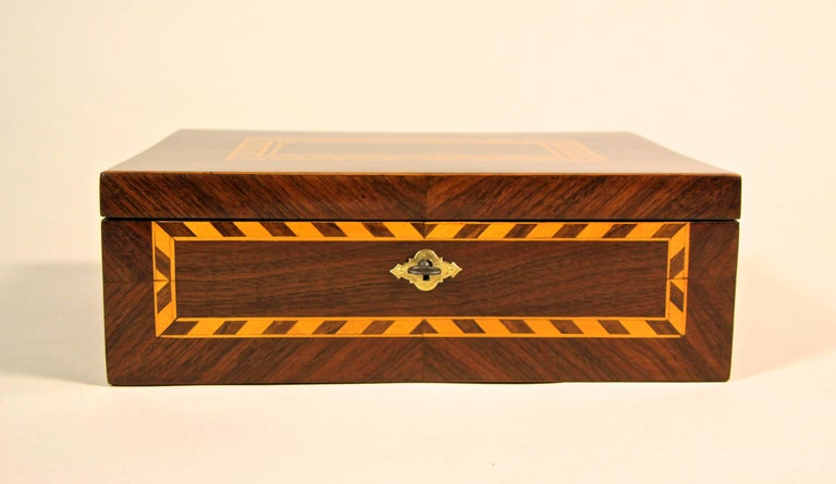 Fabulous Art Nouveau nutwood marquetry box from Austria, circa 1910.