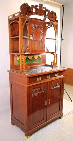Art Nouveau Cabinet Nut Wood handcarved, Austria circa 1900