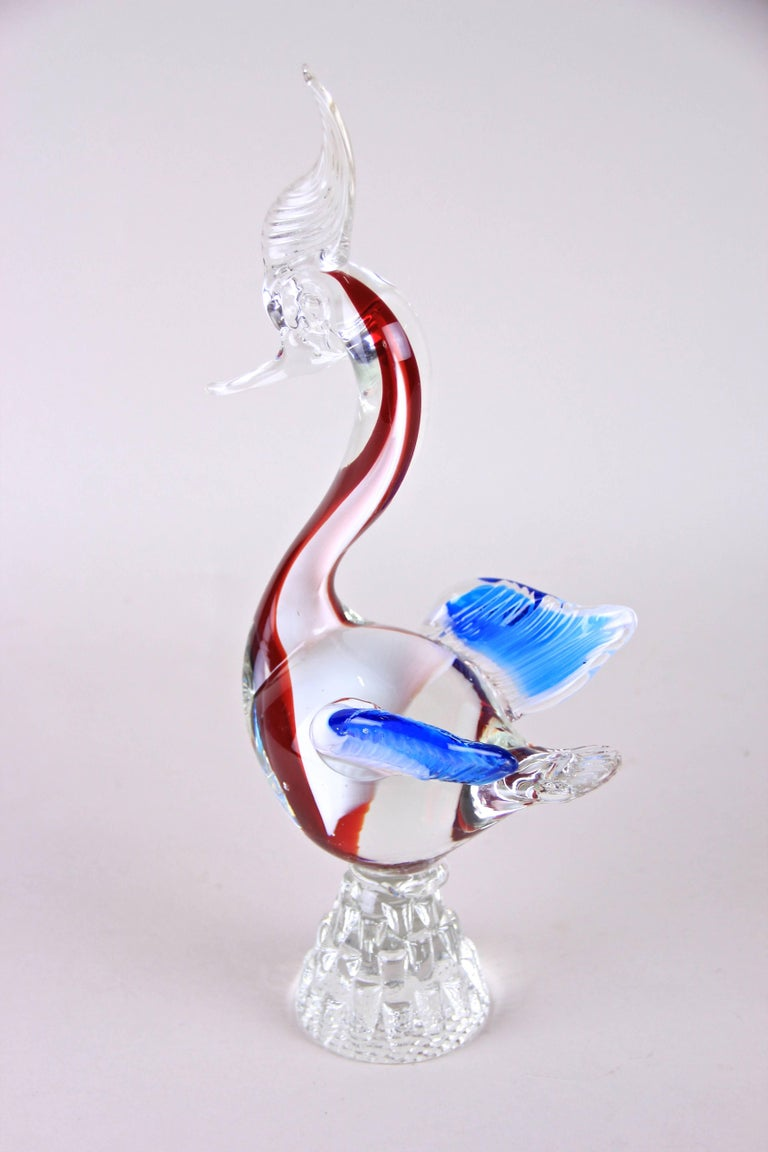 20th Century Murano Glass Swan, US Style, Italy, circa 1950 For Sale