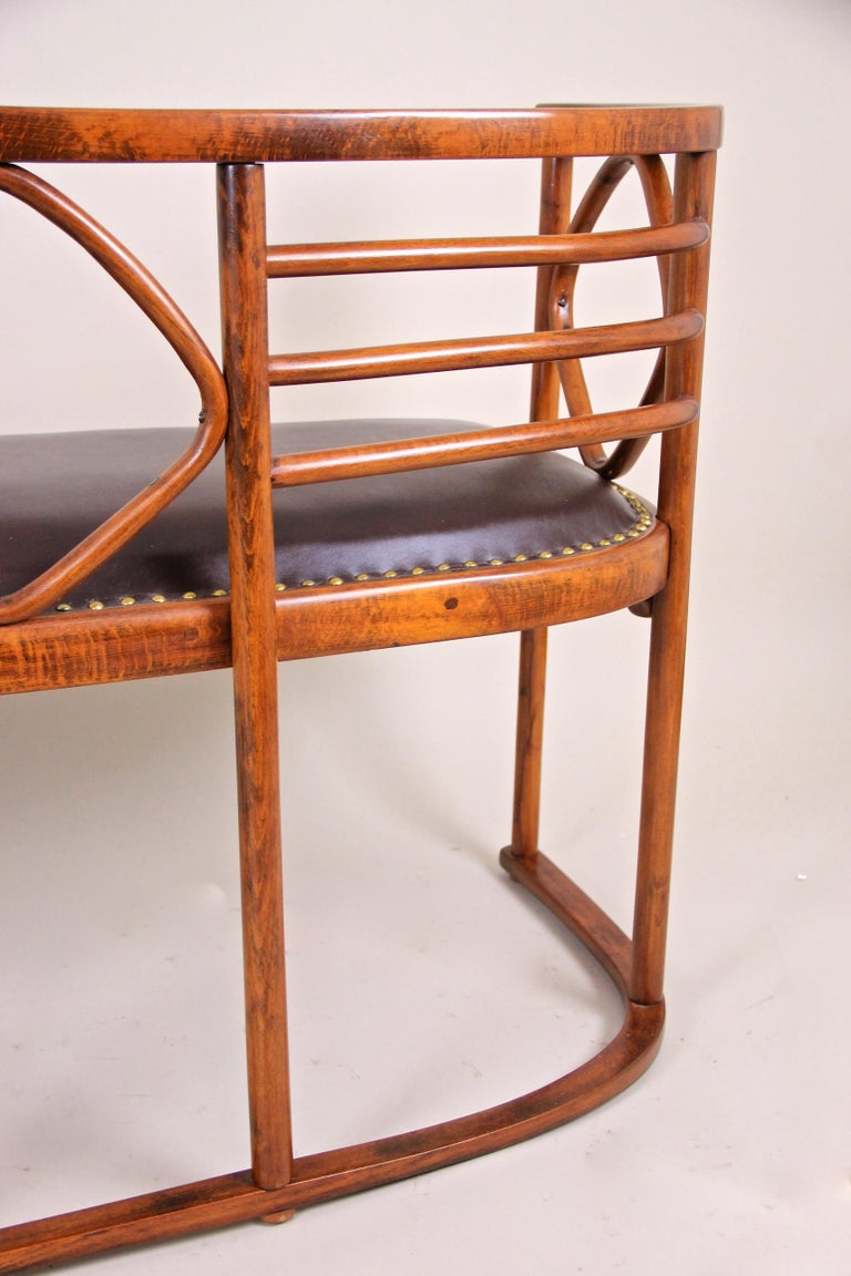 Leather Bentwood Seating Set Attributed to Thonet/ Josef Hoffmann, Austria, circa 1910 For Sale