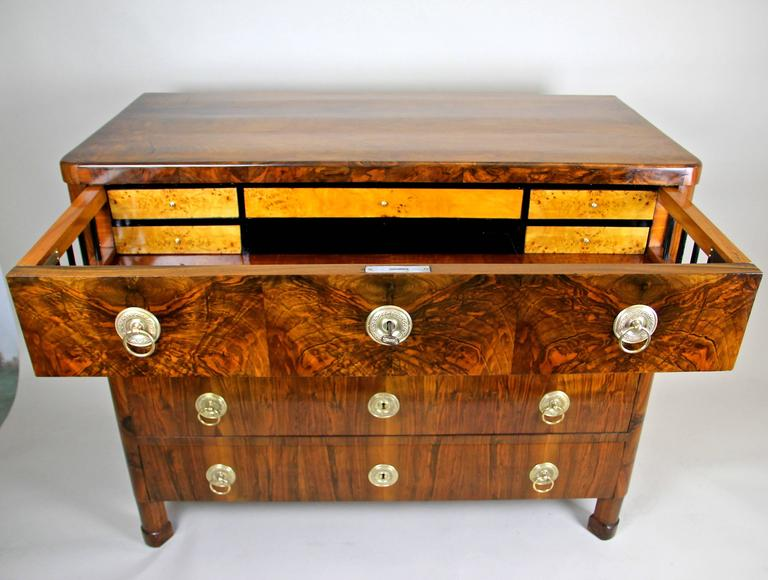 Austrian Biedermeier Nut Wood Writing Commode, Austria, circa 1830 For Sale