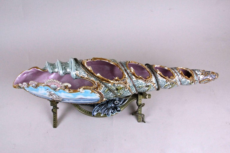 Hand-Painted Majolica Centerpiece Shell by Wilhelm Schiller & Son, Bohemia, circa 1890 For Sale