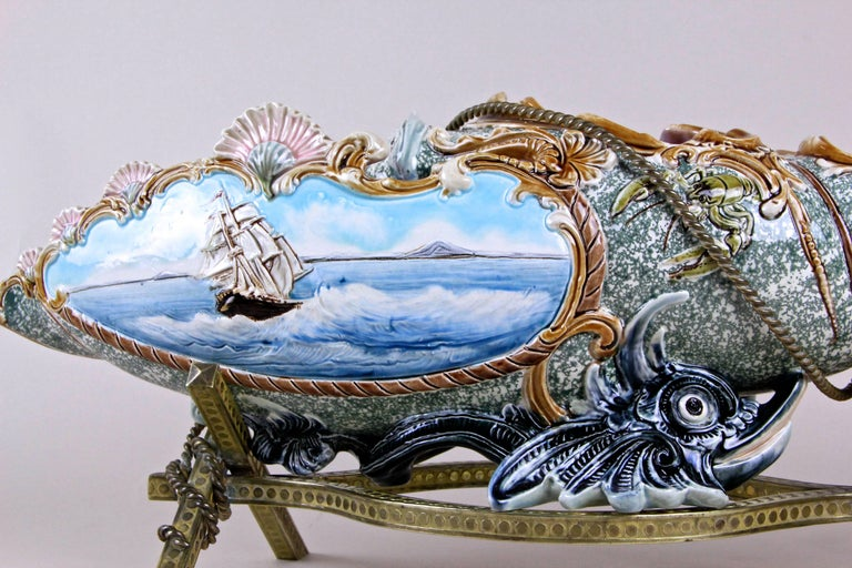 Czech Majolica Centerpiece Shell by Wilhelm Schiller & Son, Bohemia, circa 1890 For Sale