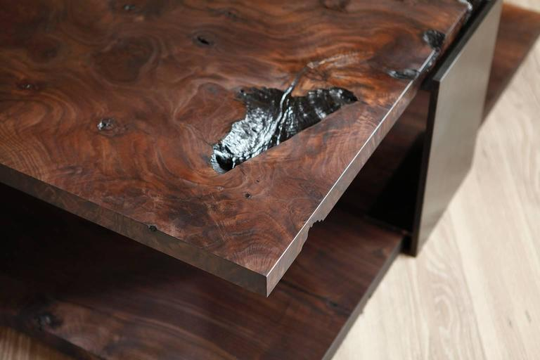 Shadow Coffee Table in Smoked Walnut and Blackened Steel by Studio Roeper  3