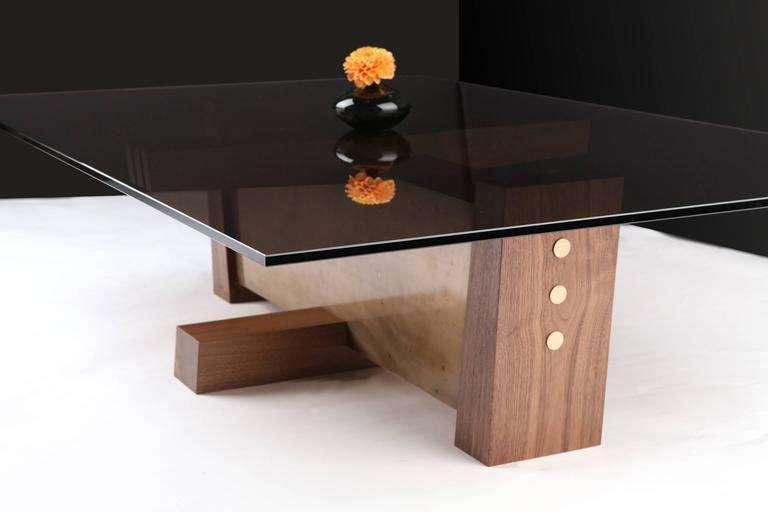 FLW Cocktail Table in Etched Bronze, Walnut and Smoked Glass by Studio Roeper 3