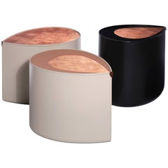 Candy Side Table in Copper Leaf, Lacquer and Leather by Studio Roeper