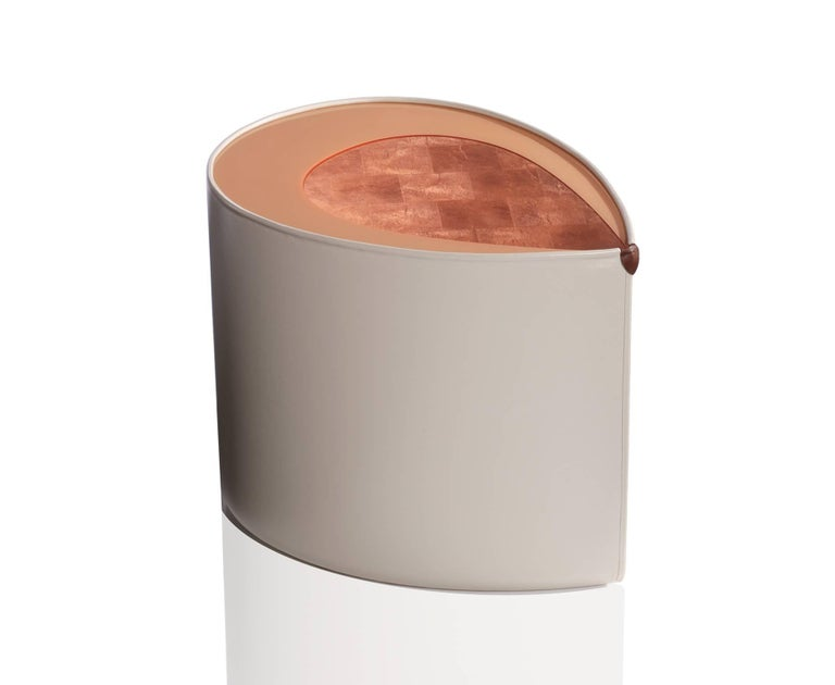 American Candy Side Table in Copper Leaf, Lacquer and Leather by Studio Roeper For Sale