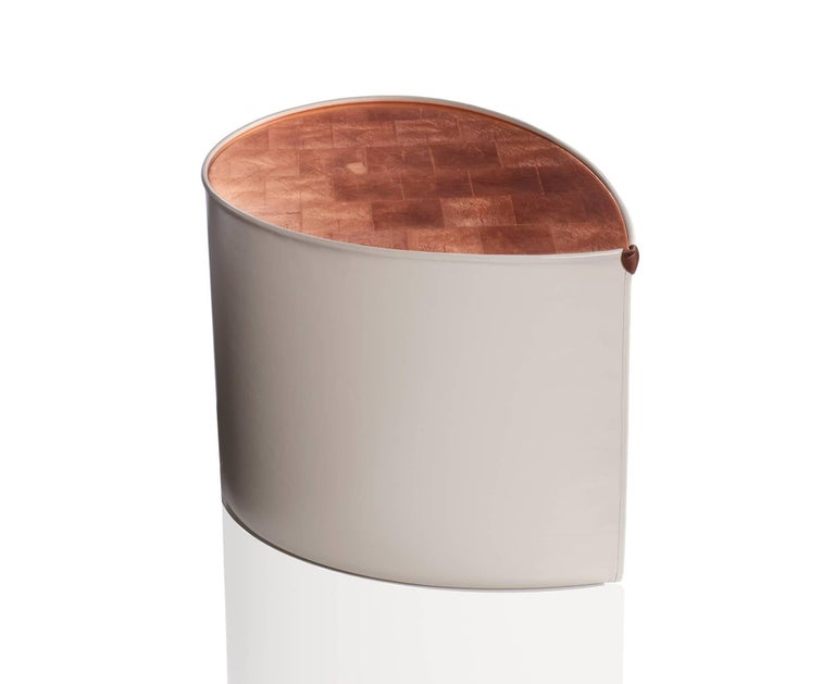Candy Side Table in Copper Leaf, Lacquer and Leather by Studio Roeper In Good Condition For Sale In San Francisco, CA