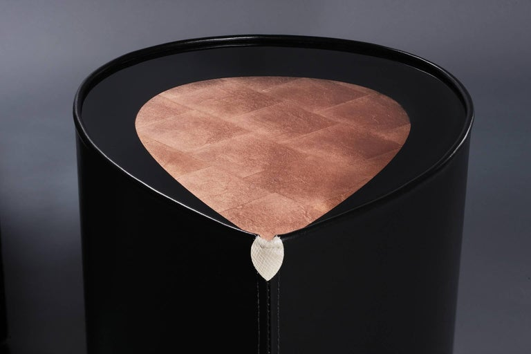 Contemporary Candy Side Table in Copper Leaf, Lacquer and Leather by Studio Roeper For Sale