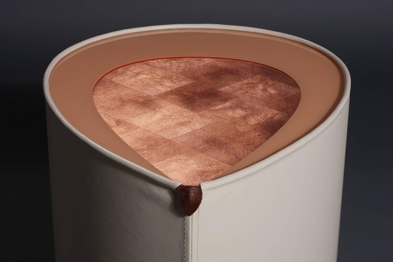 Candy Side Table in Copper Leaf, Lacquer and Leather by Studio Roeper For Sale 1