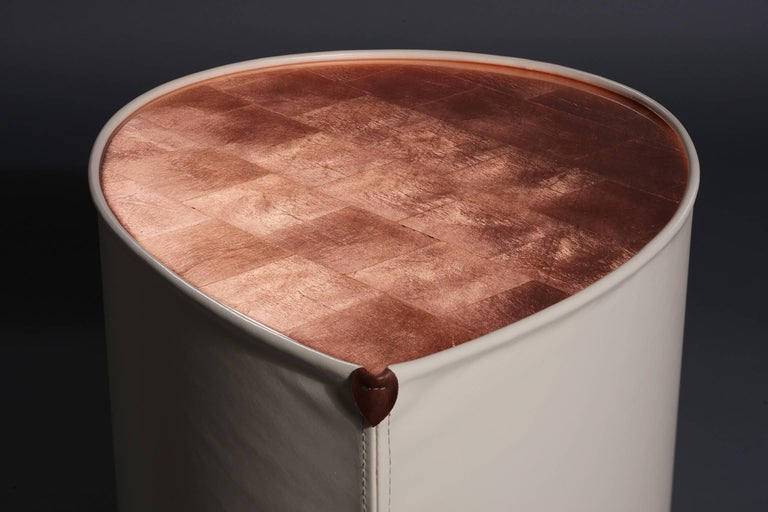Candy Side Table in Copper Leaf, Lacquer and Leather by Studio Roeper For Sale 2