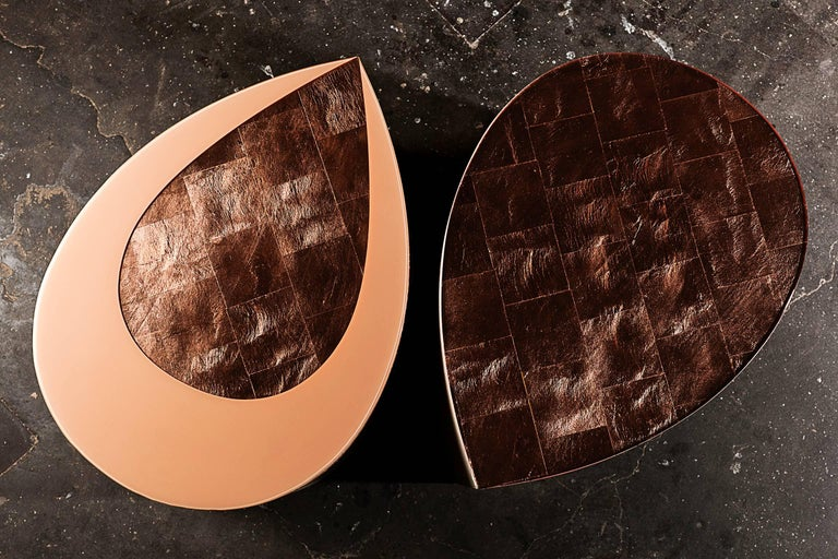Candy Side Table in Copper Leaf, Lacquer and Leather by Studio Roeper For Sale 3