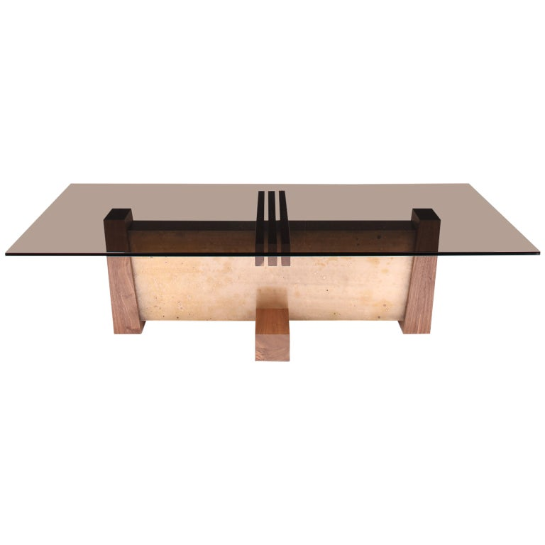 """FLW"" Coffee Table in Smoked Glass, Walnut and Etched Bronze by Studio Roeper"