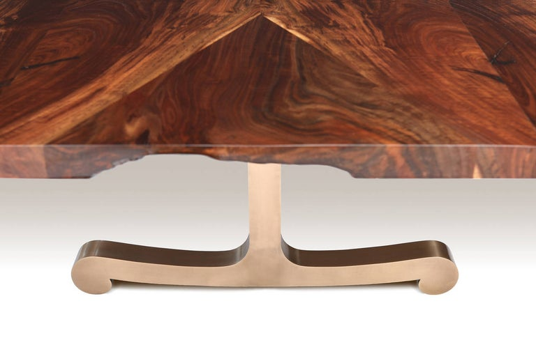 Vienna Slim Bevel Dining Table in Smoked Walnut and Cast Bronze by Studio Roeper For Sale 5