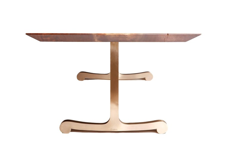 Vienna Slim Bevel Dining Table in Smoked Walnut and Cast Bronze by Studio Roeper In Excellent Condition For Sale In San Francisco, CA