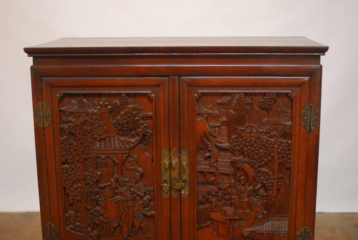 Chinese highly carved liquor cabinet on stand at 1stdibs for Carved kitchen cabinets